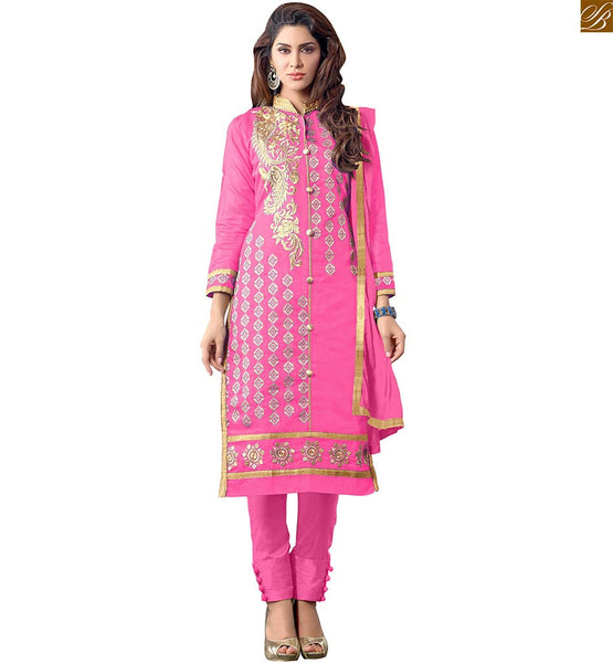 LATEST SALWAR KAMEEZ DESIGNS OF EVERSTYLISH DRESSES SMART LOOKING PUNJABI SALWAR SUITS  FULL PINK EMBROIDERED DESIGNER SALWAR SUIT COMES WITH MATCHING DUPATTA.