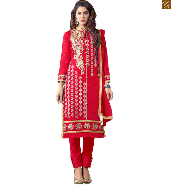 ASSORTED AWESOME NEW STYLE OF PANT TYPE SALWAR KAMEEZ DESIGNS COLLECTION OF STYLISH LADIES SUITS  GOLDEN  FLORAL  STYLE EMBROIDERY AT NECK LINE,  PINK AND COPPER METALIC EMBROIDERY BORDER ON BORDER OF KAMEEZ  PLUS BEIGE  FLORAL EMBROIDERY BUTTAS ON RED STRAIGHT CUT KAMEEZ