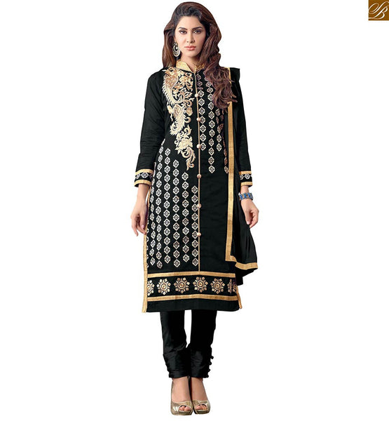 EVER-STYLISH BLACK PUNJABI SUIT PATTERN OF STRAIGHT CUT LONG SALWAR KAMEEZ FOR LADIES  New style of pant type salwar with Golden embroidery on close type collared neck and buttas on all over the top with Beige thread and Pink & Copper border on kameez.