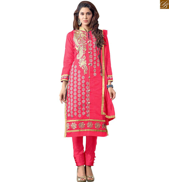 STRAIGHTFORWARD LOOKING SIMPLE PUNJABI SUITS SALWAR KAMEEZ DUPATTAS NEW DESIGNER COLLECTION AT CHEAPEST RATE  PINK & COPPER COLOR ZARI BORDER WORK, GOLDEN EMBROIDERY AT NECK AND COLLAR AND BEIGE COLOR BUTTA WORK ON ALL OVER THE DUSTY PINK KAMEEZ OF SALWAR SUIT