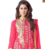 PINK & COPPER COLOR ZARI BORDER WORK, GOLDEN EMBROIDERY AT NECK AND COLLAR AND BEIGE COLOR BUTTA WORK ON ALL OVER THE DUSTY PINK KAMEEZ OF SALWAR SUIT