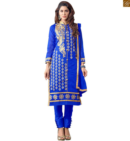 STYLISH KURTA SHALWAR SUITS FABULOUS STYLE OF PUNJABI DRESS PATTERN OF  CASUAL WEAR ONLINE INDIA    ROYAL BLUE STRAIGHT SHAPED A-LINE TYPE EMBROIDERED KAMEEZ WITH TIGHT PANT TYPE SALWAR DRESS