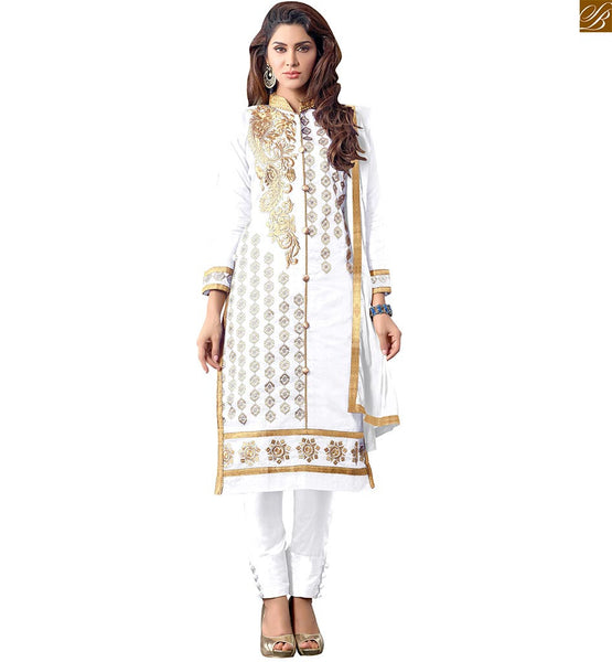 LATEST PUNJABI SUITS DESIGN LOOK LIKE PLEASING LONG STRAIGHT KURTI TYPE KAMEEZ SALWAR DRESS, FULL OFF WHITE SUIT SET WITH STRAIGHT LINE SHAPED KAMEEZ EMBROIDERD AT NECK AND BORDER PLUS BUTTA