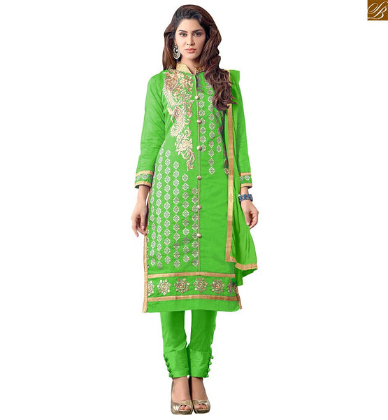 COOL STRAIGHT CUT PUNJABI SALWAR KAMEEZ DESIGNS OF COTTON  CASUAL DRESSES FOR WOMEN ONLINE SHOPPING INDIA  PARROT GREEN SALWAR SUIT FEATURING GOLDEN EMBROIDERY ON NECK, PINK & COPPER BORDER WORK AND BEIGE EMBROIDERY BUTTAS ON ALL OVER KAMEEZ