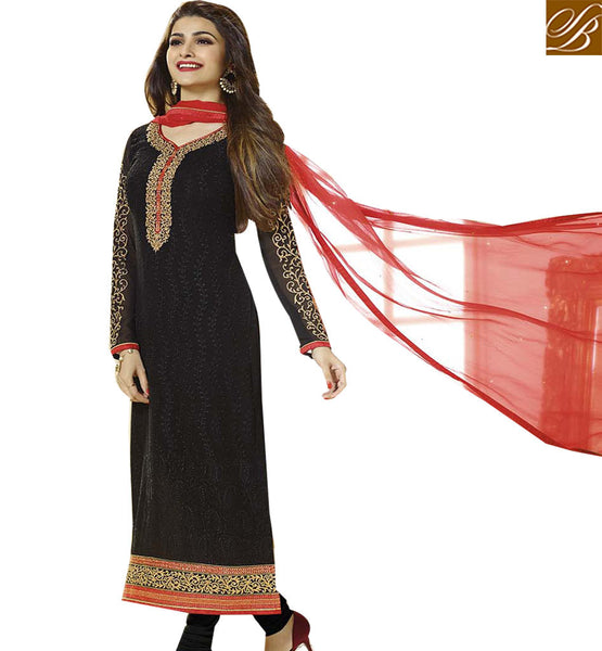 BROUGHT TO YOU BY STYLISH BAZAAR BOLLYWOOD ACTRESS PRACHI DESAI IN BEAUTIFUL BLACK SALWAAR SUIT VNPD2763