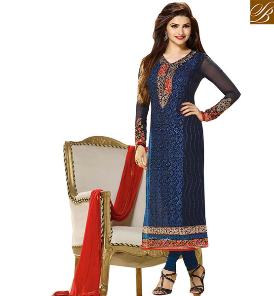 STARLET PRACHI DESAI IN AMAZING EMBROIDERED BLUE SALWAAR KAMEEZ VNPD2768  BY BLUE
