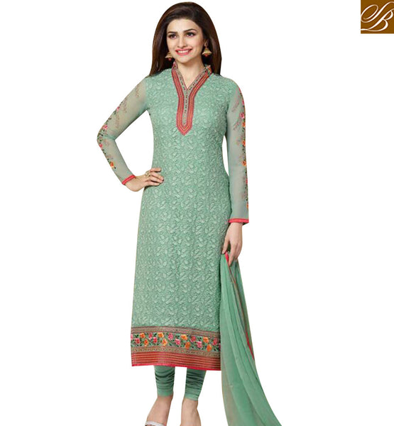 STYLISH BAZAAR BOLLYWOOD ACTRESS PRACHI DESAI SEA GREEN COLORED DESIGNER SALWAR KAMEEZ VNPD3302