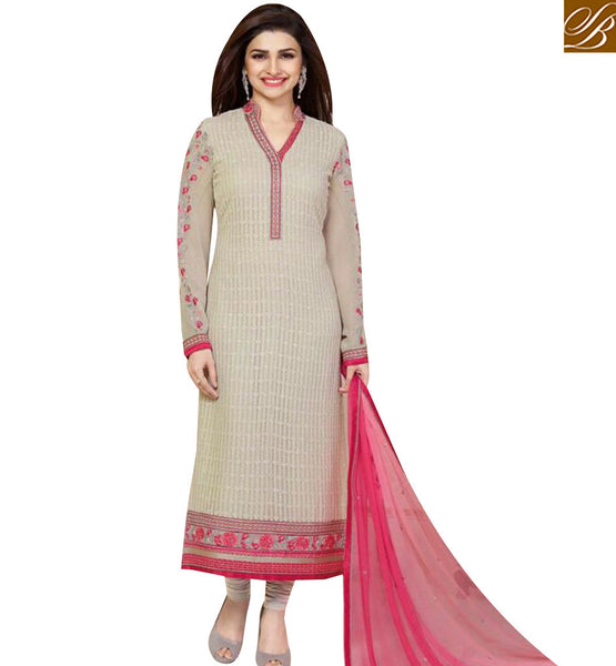 STYLISH BAZAAR BOLLYWOOD ACTRESS PRACHI DESAI CREAM COLORED DESIGNER SUIT VNPD3303