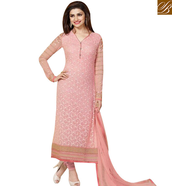 STYLISH BAZAAR BOLLYWOOD ACTRESS PRACHI DESAI PINK COLORED DESIGNER SUIT VNPD3306