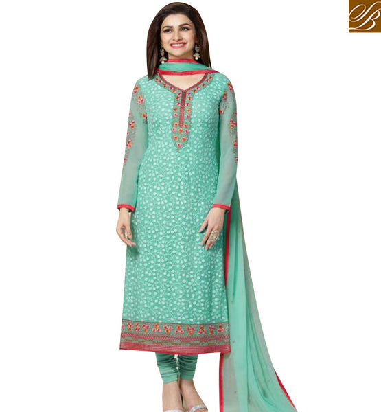 STYLISH BAZAAR BOLLYWOOD ACTRESS PRACHI DESAI SKY BLUE COLORED DESIGNER SALWAR KAMEEZ VNPD3307