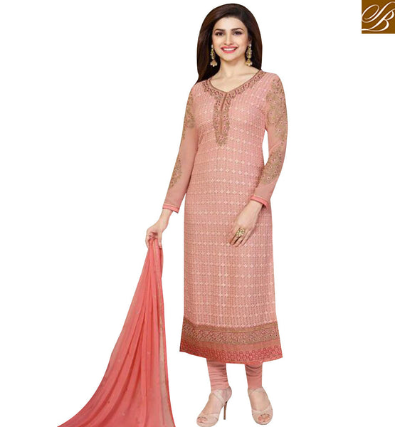 STYLISH BAZAAR BOLLYWOOD ACTRESS PRACHI DESAI PEACH COLORED DESIGNER SUIT VNPD3309