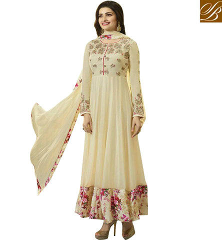 STYLISH BAZAAR BOLLYWOOD CELEBRITY PRACHI DESAI CREAM GEORGETTE DESIGNER ANARKALI SALWAR KAMEEZ VNPD4741