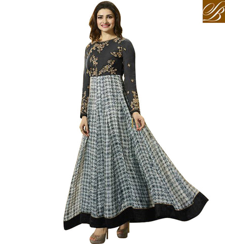 STYLISH BAZAAR BLACK AND OFF WHITE GEORGETTE BOLLYWOOD ACTRESS PRACHI DESAI ANARKALI DESIGNER SUIT VNPD4742