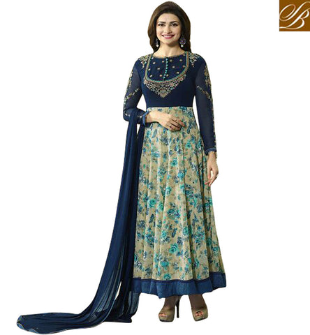 STYLISH BAZAAR BEAUTIFUL BLUE AND CREAM GEORGETTE PRACHI DESAI ANARKALI SALWAR SUIT WITH LOVELY EMBROIDERY VNPD4744