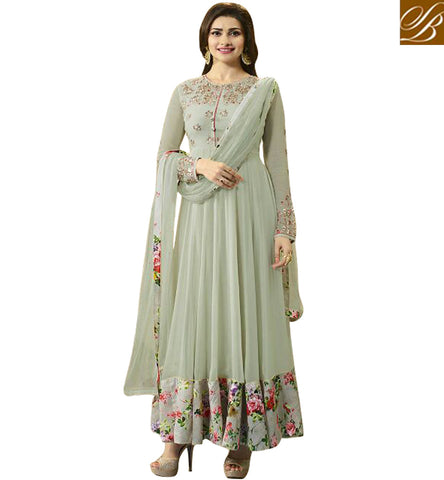 STYLISH BAZAAR SURPRISING CREAM GEORGETTE HAVING FLORAL BORDER PRACHI DESAI PARTY WEAR ANARKALI SUIT VNPD4745