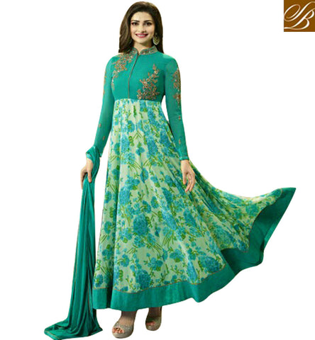 STYLISH BAZAAR SHOP DAZZLING GREEN GEORGETTE PRACHI DESAI PARTY WEAR PRINTED ANARKALI SALWAR KAMEEZ VNPD4746
