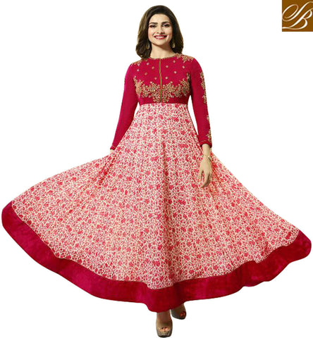 STYLISH BAZAAR BREATHE TAKING RED AND PINK GEORGETTE PARTY WEAR PRACHI DESAI DESIGNER ANARKALI SUIT VNPD4748