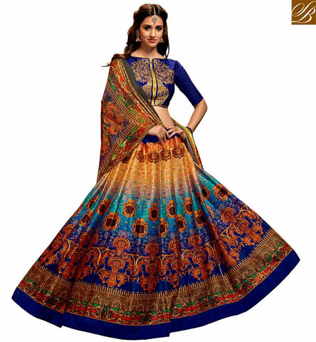 STYLISH BAZAAR BOLLYWOOD CELEBRITY DISHA PATANI BLUE AND ORANGE SILK DESIGNER LEHENGA CHOLI YNF23362