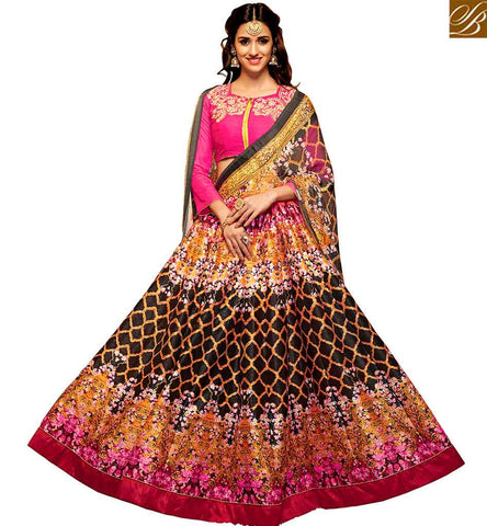 STYLISH BAZAAR SHOP ONLINE BEAUTIFUL PINK AND MULTI COLOR SILK DISHA PATANI LEHENGA CHOLI YNF23363