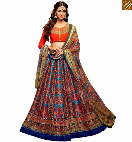 STYLISH BAZAAR SHOP ORANGE SILK CHOLI AND MULTI COLOR LEHENGA WELL PRINTED DISHA PATANI SUIT YNF23365