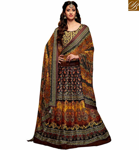 STYLISH BAZAAR WEAR DISHA PATANI'S BANGLORI SILK DESIGNER MULTI COLOR PRINTED LEHENGA CHOLI YNF23367