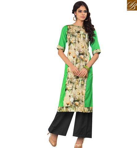STYLISH BAZAAR BUY GREEN COTTON SATIN DESIGNER PRINTED KURTI FROM STYLISH BAZAAR YSSPG1603