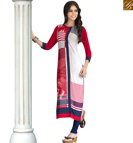 STYLISH BAZAAR STYLISH WHITE AND RED REYON COTTON DESIGNER PRINTED KURTI YSSPG1605