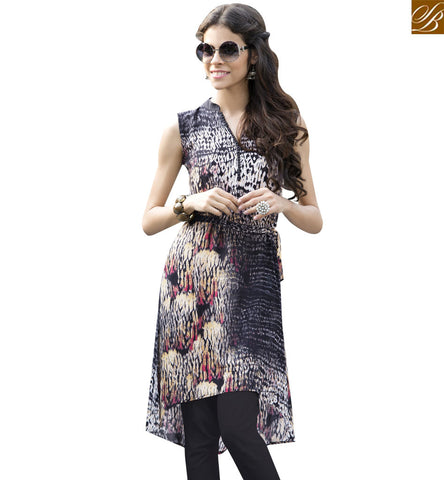 STYLISH BAZAAR ELEGANT BLACK AND CREAM DESIGNER PRINTED KURTI WITH PLEASANT LOOK YSSPG1606