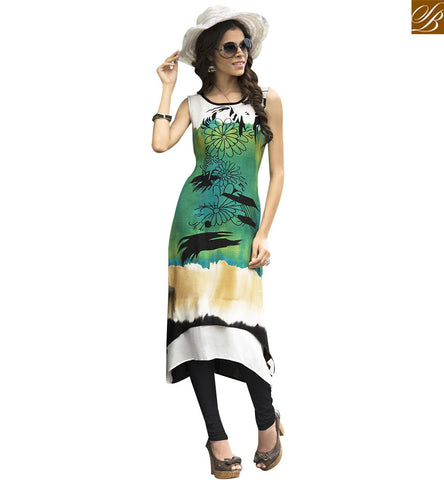 STYLISH BAZAAR AMAZING GREEN AND CREAM RAYON COTTON CASUAL WEAR DESIGNER KURTI YSSPG1607