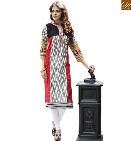 STYLISH BAZAAR RED AND WHITE COTTON BEAUTIFUL PRINTED CASUAL WEAR DESIGNER KURTI YSSPG1608