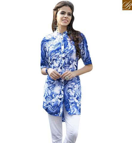 STYLISH BAZAAR PLEASING BLUE RAYON COTTON PRINTED DESIGNER KURTI YSSPG1609