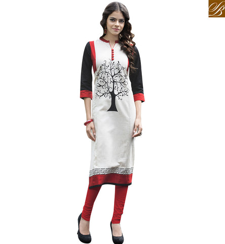 STYLISH BAZAAR WEAR CREAM AND BLACK INDIAN CASUAL WEAR DESIGNER PRINTED KURTI YSSPG1610
