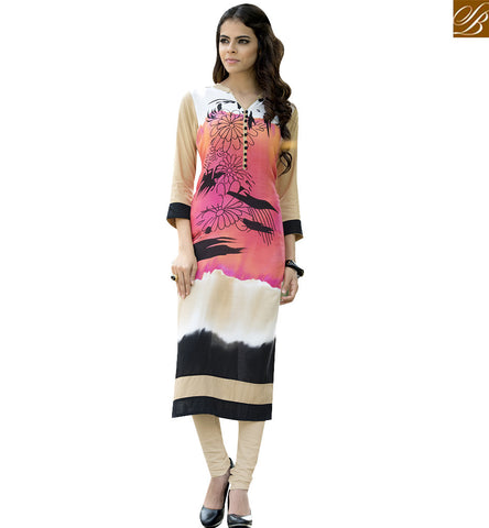 STYLISH BAZAAR PINK AND CREAM RAYON COTTON WONDERFUL DIGITAL PRINT DESIGNER KURTI YSSPG1615