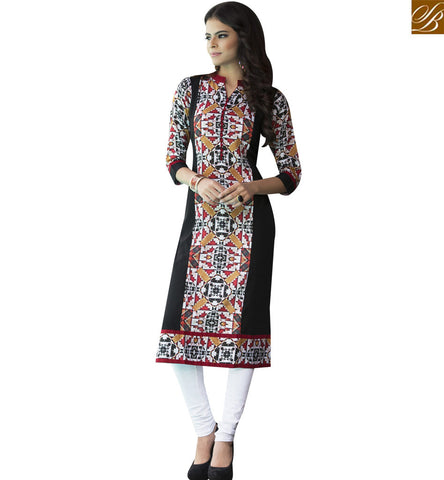 STYLISH BAZAAR BLACK COTTON SATIN CASUAL WEAR DESIGNER PRINTED KURTI YSSPG1616