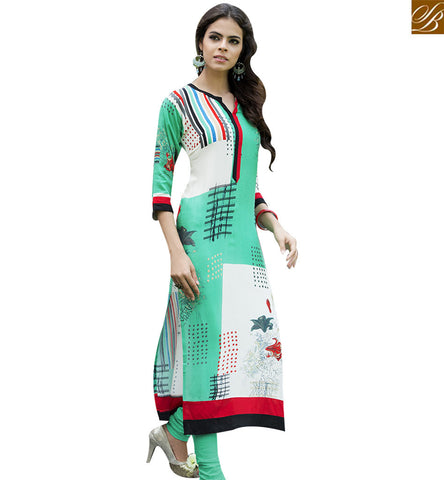 STYLISH BAZAAR GREEN AND CREAM RAYON COTTON DESIGNER INDIAN TRADITIONAL KURTI YSSPG1617