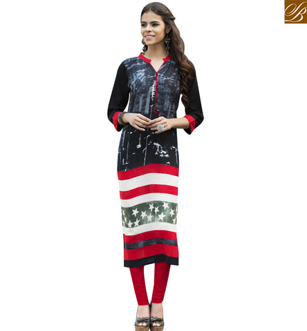 STYLISH BAZAAR BLACK RAYON COTTON ELEGANT DIGITAL PRINT DESIGNER KURTI YSSPG1620