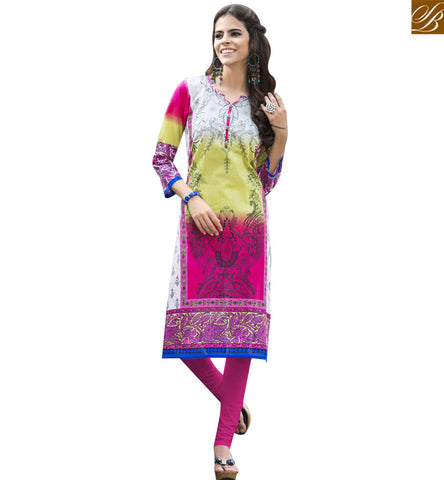STYLISH BAZAAR MULTICOLOUR COTTON WELL DECORATED CASUAL WEAR PRINTED KURTI YSSPG1621