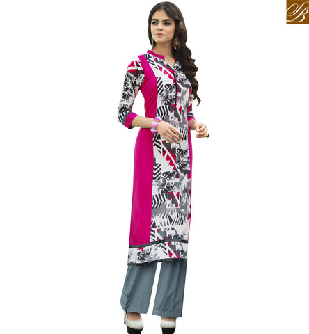 STYLISH BAZAAR STUNNING PINK AND WHITE RAYON COTTON KURTI HAVING DIGITAL PRINT YSSPG1622