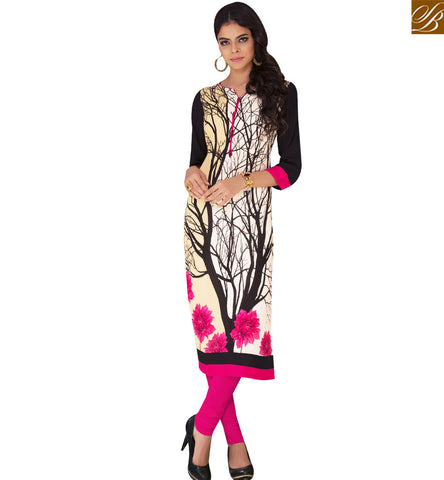 STYLISH BAZAAR CREAM RAYON COTTON CASUAL WEAR DESIGNER KURTI HAVING LOVELY PRINT YSSPG1624