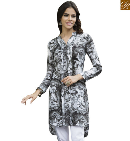 STYLISH BAZAAR GREY RAYON COTTON CASUAL WEAR KURTI HAVING WONDERFUL PRINT YSSPG1625