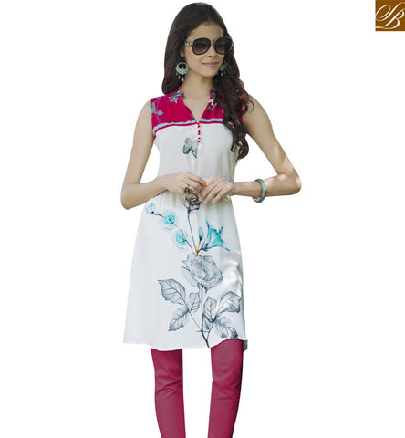 STYLISH BAZAAR WHITE RAYON COTTON CASUAL WEAR DESIGNER KURTI WITH FLOWER PRINT YSSPG1626