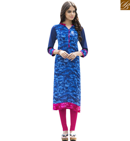 STYLISH BAZAAR BLUE RAYON COTTON CASUAL WEAR DESIGNER KURTI WITH SUPER PRINT YSSPG1627