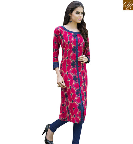 STYLISH BAZAAR PINK AND BLUE RAYON COTTON CASUAL WEAR DESIGNER PRINTED KURTI YSSPG1628