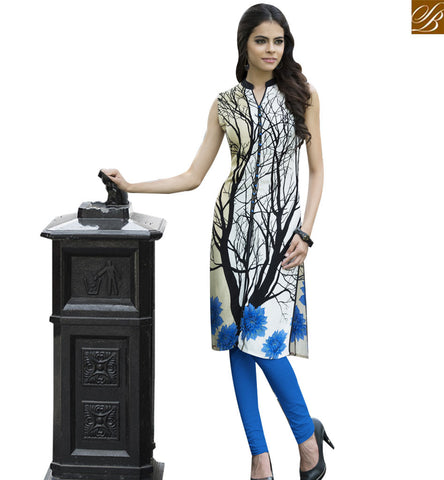 STYLISH BAZAAR CREAM RAYON COTTON CASUAL WEAR DESIGNER KURTI HAVING BLACK PRINT YSSPG1629
