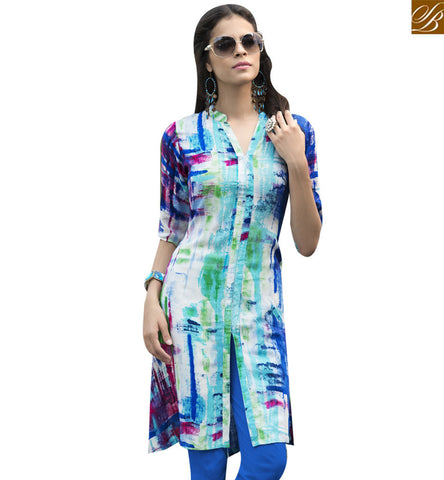 STYLISH BAZAAR MULTICOLOUR RAYON COTTON DESIGNER KURTI HAVING SLIT FROM MIDDLE YSSPG1630