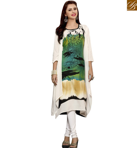 STYLISH BAZAAR GREEN AND WHITE RAYON COTTON CASUAL WEAR PRINTED KURTI WITH JACKET STYLE YSSPG1631