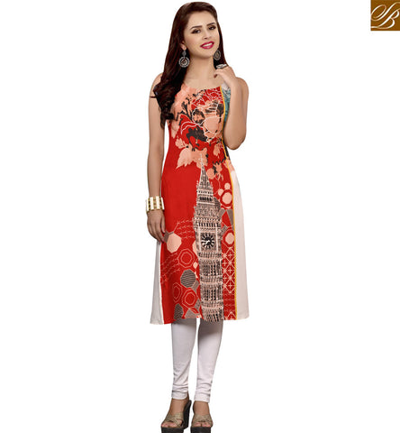 STYLISH BAZAAR RED AND CREAM RAYON COTTON CASUAL WEAR KURTI HAVING BEAUTIFUL PRINT YSSPG1632