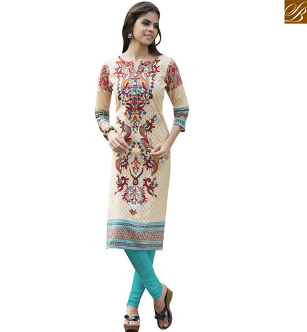 STYLISH BAZAAR SPLENDID CREAM COTTON CASUAL WEAR PRINTED DESIGNER KURTI YSSPG1710