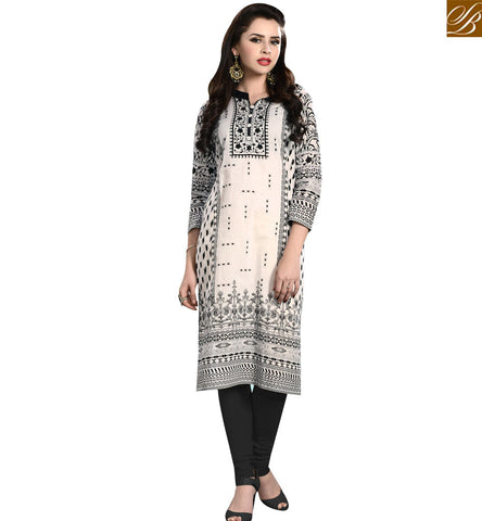 STYLISH BAZAAR DAZZLING CREAM COTTON WELL PRINTED CASUAL WEAR DESIGNER KURTI YSSPG1711