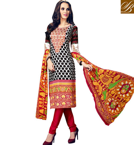 STYLISH BAZAAR ELEGANT BLACK AND RED EUROPEAN WOOL CASUAL WEAR PRINTED SALWAR SUIT WITH PRINTED DUPATTA YSTSN806